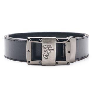 Versace Collection Men's Black Medusa Head Leather Belt