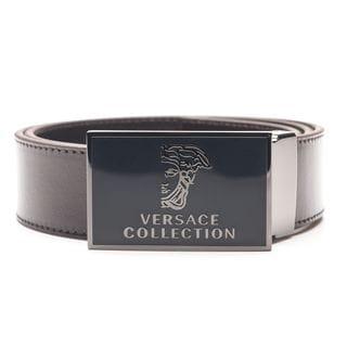 Versace Collection Men's Dark Brown Medusa Head 'Versace' Leather Belt