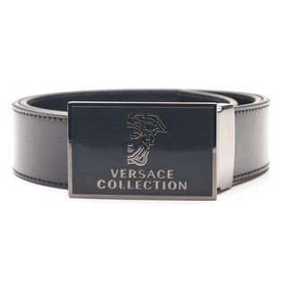 Versace Collection Men's Black Medusa 'Versace' Head Leather Belt