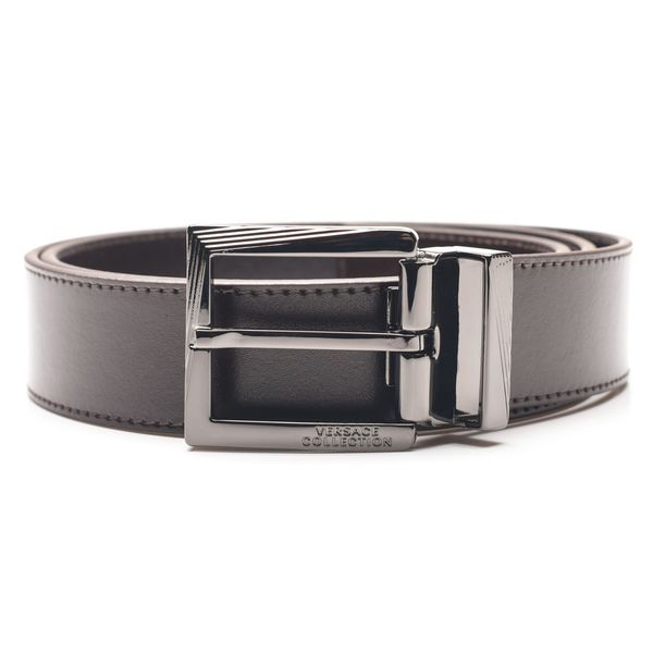 Versace Collection Men's Dark Brown Italian Leather Belt