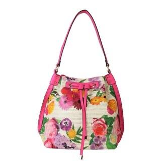 Rimen and Co. Floral Print Drawstring Closure Bucket-style Hobo Handbag