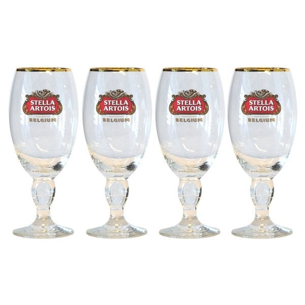 Stella Artois 40 Centiliter Belgium Beer Glasses with Star Chalice (Set of 4)