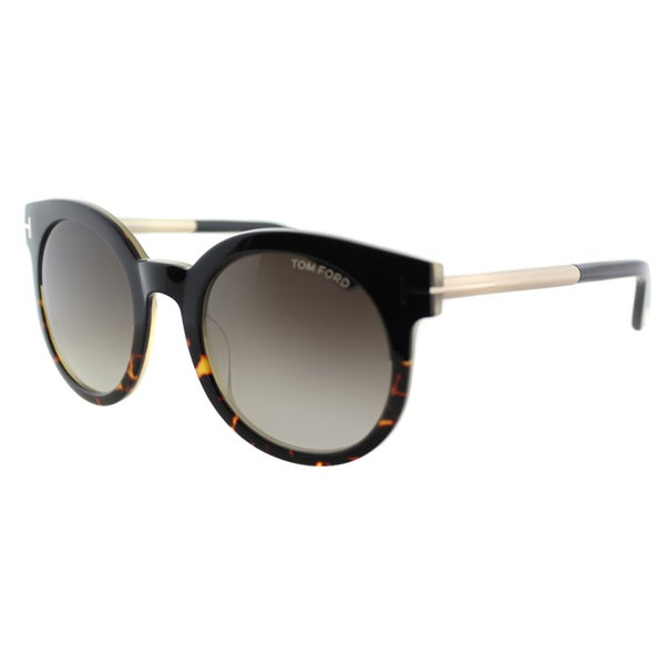 Tom Ford TF 435 Janina 01K Shiny Black/ Dark Havana Gradient Round Sunglasses