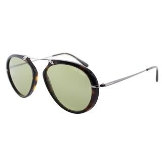 Tom Ford TF 473 Aaronn 52N Red Havana Green Gradient Aviator Sunglasses