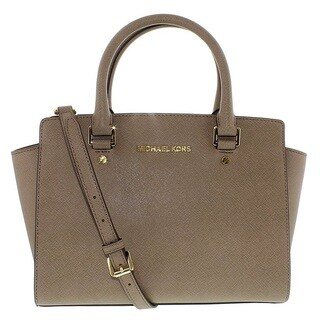 Michael Kors Selma Medium Dark Dune Top Zip Satchel Handbag