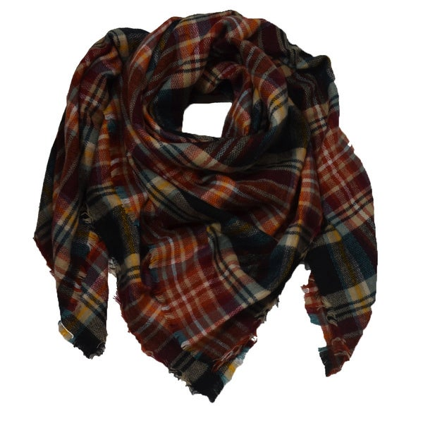 LA77 Soft Oversized Plaid Blanket Scarf