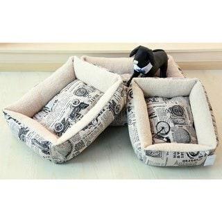 Plush Fleece Comfort Pet Dog Bed with 1800's Newspaper Design