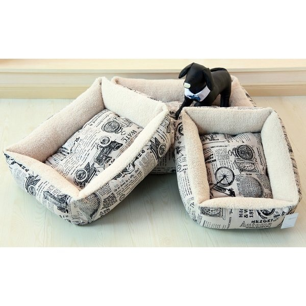 Plush Fleece Comfort Pet Dog Bed with 1800's Newspaper Design