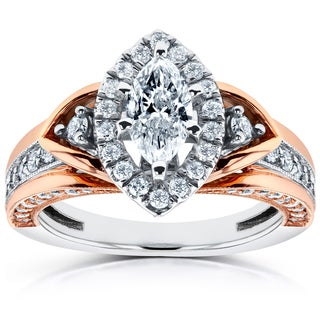 Annello 14k Two-Tone Gold 1ct TDW Marquise Diamond Engagement Ring (H-I, I1-I2)