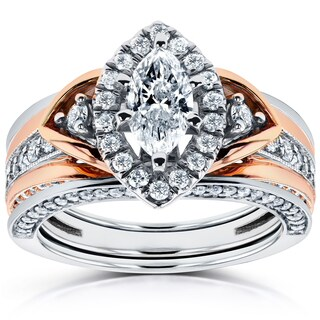 Annello 14k Two-Tone Gold 1 1/4ct TDW Marquise Diamond 3-Piece Bridal Set (H-I, I1-I2)