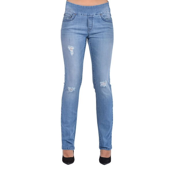 Bluberry Women's Straight Leg Medium Wash Denim Jeans