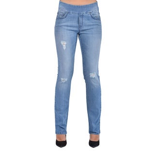 Bluberry Women's Straight Leg Medium Wash Denim Jeans