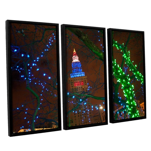 ArtWall 'Cody York's Terminal Tower' 3 Piece Floater Framed Canvas Set