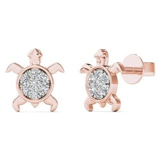 10k Rose Gold Diamond Accent Sea Turtle Stud Earrings (H-I, I1-I2)