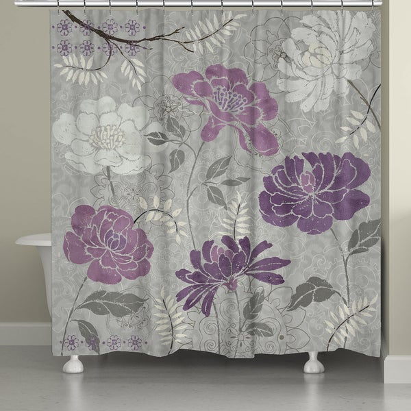 Laural Home Plum Petals Shower Curtain 18337210 Shopping Great Deals On