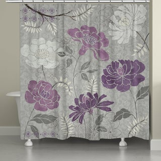 Laural Home Plum Petals Shower Curtain
