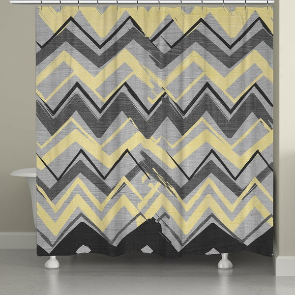 Laural home yellow and grey chevron shower curtain 18337229
