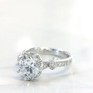 Lihara and Co. 18k White Gold 1/3ct TDW Diamond Semi-Mount Engagement Ring (G-H, VS1-VS2)