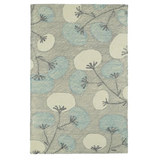 Hand-Tufted Mi Casa Grey Floral Rug (3'6 x 5'6)