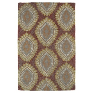 Hand-Tufted Mi Casa Red Damask Rug (9' x 12')
