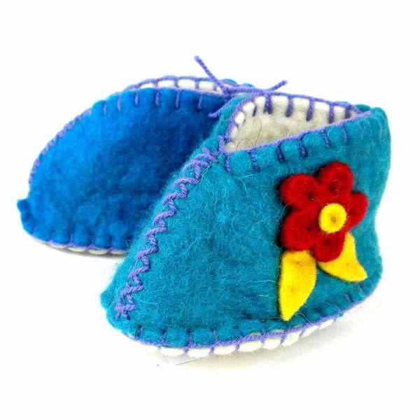 Handcrafted Felt Blue Zooties Baby Booties (Kyrgyzstan)
