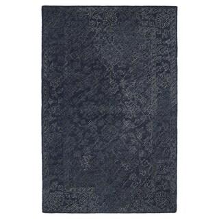 Hand-Tufted Mi Casa Blue Distressed Traditional Rug (5' x 7'9)