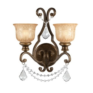 Crystorama Norwalk Collection 2-light Bronze Umber/ Austrian Crystal Strass Crystal Wall Sconce