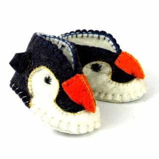 Handcrafted Felt Penguin Zooties Baby Booties (Kyrgyzstan)