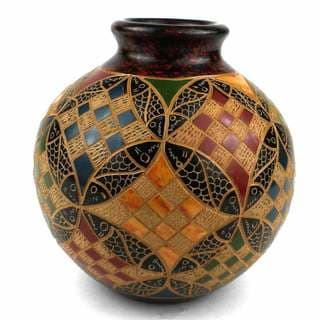 Handmade 4-inch Tall Vase - Geometric Squares Design (Nicaragua)