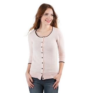 DownEast Basics Women's Ribbon Stripe Cardigan