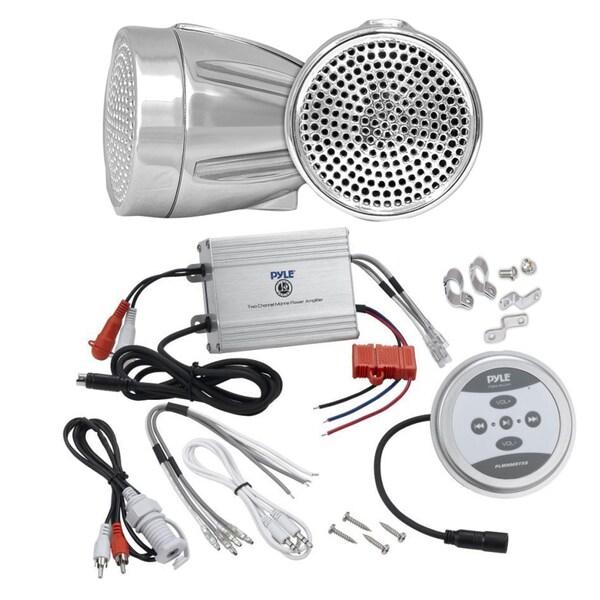 Pyle KTHSP450 600-watt Bluetooth Motorcycle/ ATV/ Snowmobile Sound System with Amp/ Weatherproof 2.25-inch Speakers/ Wires