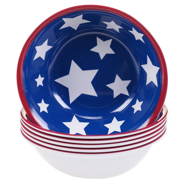 Certified International Stars & Stripes 7.5-inch Melamine All Purpose Bowls (Set of 6) 17516979