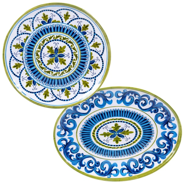 Certified International Blue Grotto Melamine 2-piece Platter Set