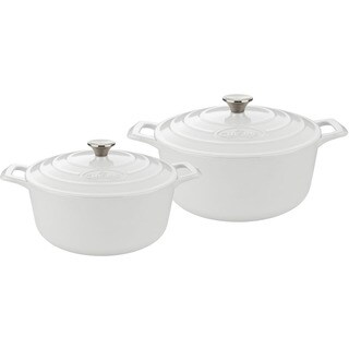 La Cuisine White Enamel Cast Iron 4-piece Round Casserole Set