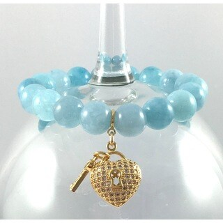 Terra Charmed Aquamarine Bead and Cubic Zirconia Heart and Key Charm Bracelet