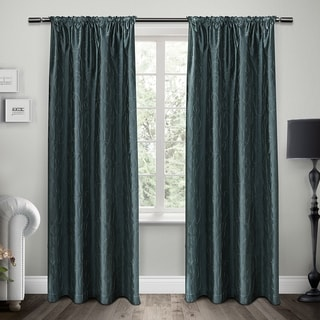 ATI Home Saturn Rod Pocket Embroidered Window Curtain 84 - 96-inch Length Panel Pair
