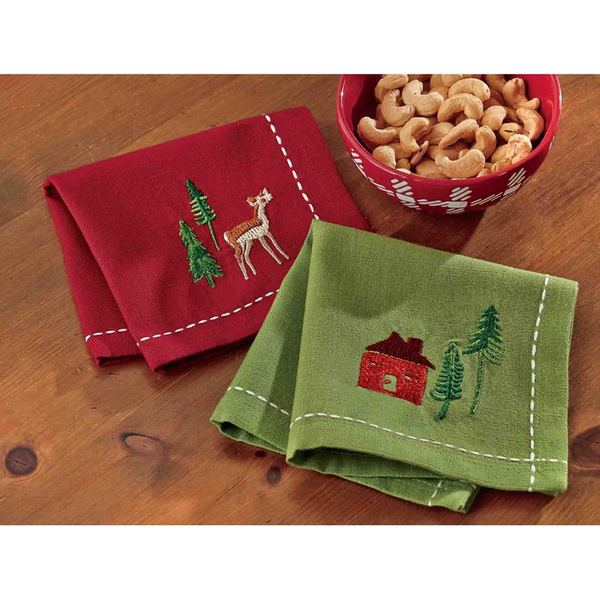 Tag Woodland Embroidered Cocktail Napkin - Set of 4