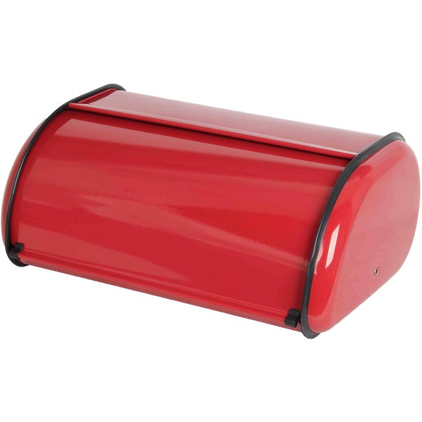 Stainless Steal Breadbox with Red Finish