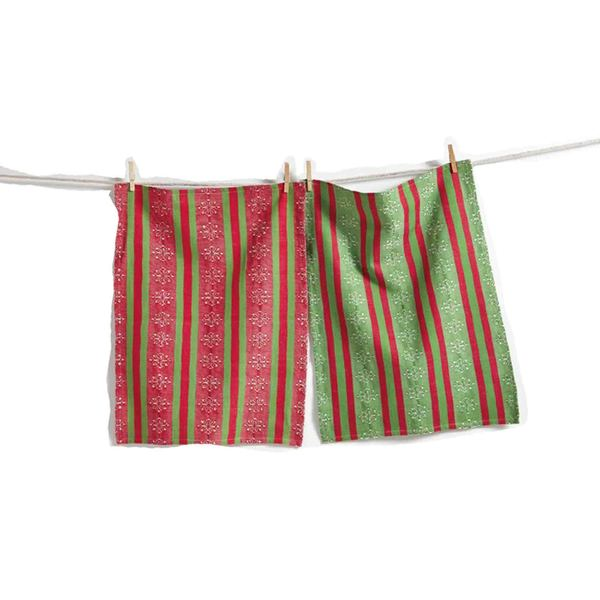 Tag Snowflake Stripe Jacquard Dishtowel, Set of 2- Red/Green