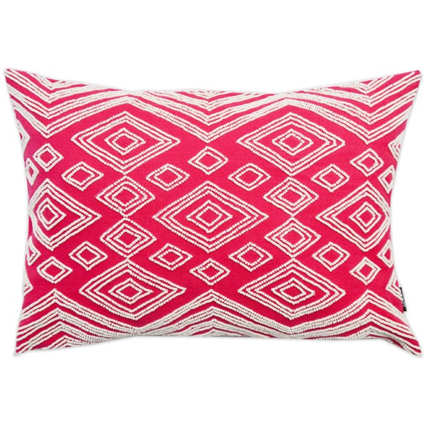 Red Oblong Beaded Cotton Throw Pillow