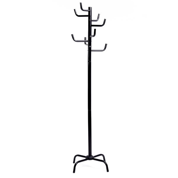 8-Hook Metal Coat Rack in Black