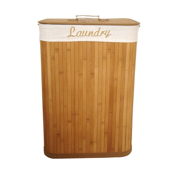 Natural Bamboo Laundry Hamper with Liner