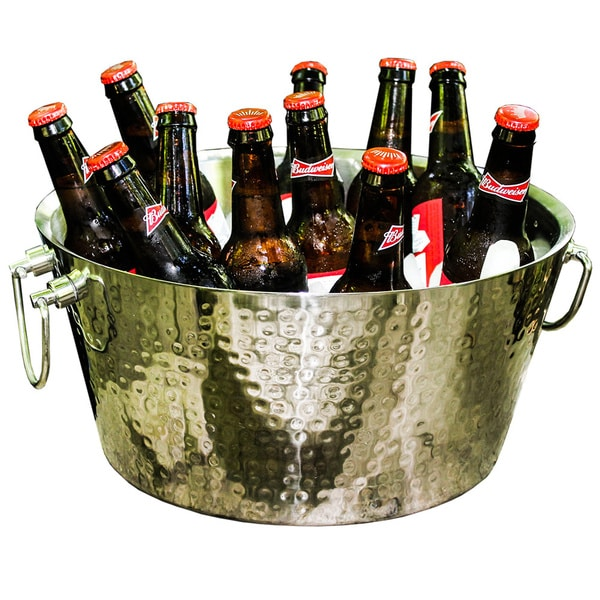BREKX Silver Anchored Double Walled Hammered Steel Beverage Tub 17517621