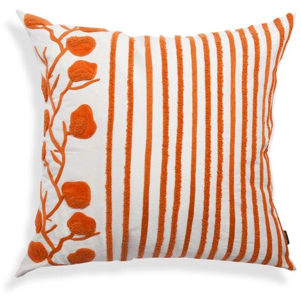 Orange-White Striped Floral Cushion, 20-Inch