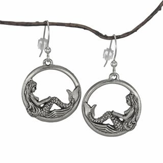 Jewelry by Dawn Round Mermaid Pewter Dangle Earrings