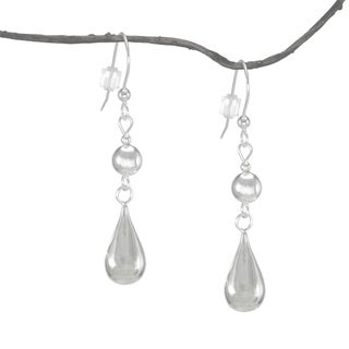 Jewelry by Dawn Round Teardrop With Silver Bead Sterling Silver Earrings