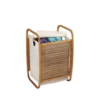Household Essentials Open-Side Bamboo Slat Laundry Hamper