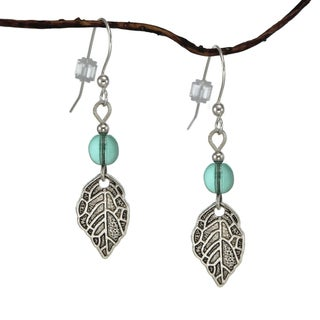 Jewelry by Dawn Aqua Glass Antique Pewter Leaf Earrings