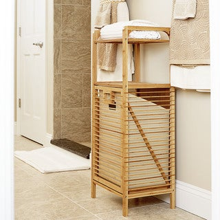 Household Essentials Tilt-Out Bamboo Slat Laundry Hamper