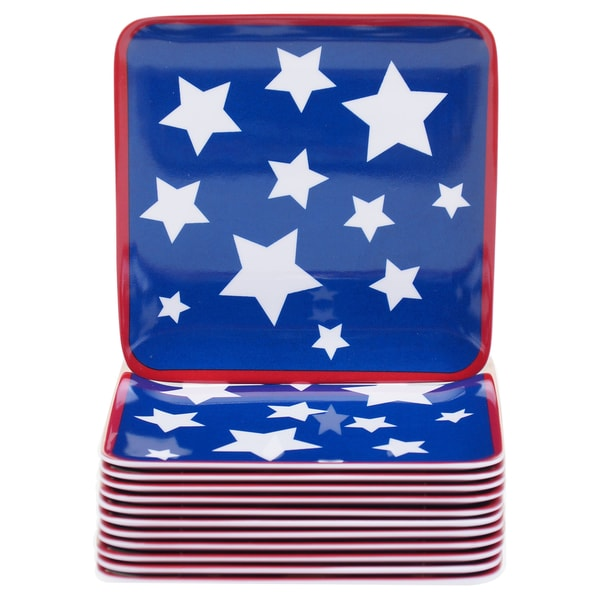 Certified International Stars & Stripes 6-inch Melamine Canape Plates (Set of 12) 17517936